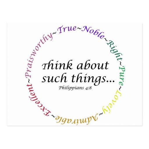Piense en tales cosas… 4:8 de los filipenses postales
