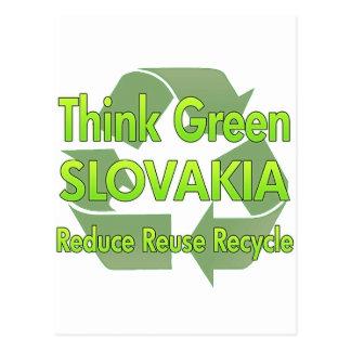 Piense Eslovaquia verde Tarjeta Postal
