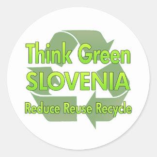 Piense Eslovenia verde Pegatina Redonda