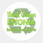 Piense Estonia verde Etiquetas Redondas