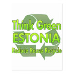 Piense Estonia verde Postal