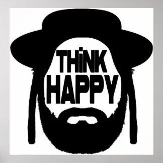 Piense feliz póster