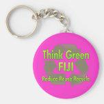 Piense Fiji verde Llavero