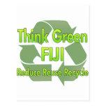 Piense Fiji verde Postales