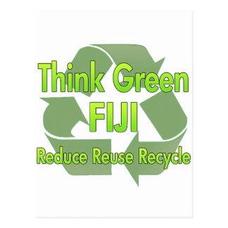 Piense Fiji verde Postal