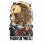 Piense fuera de la burbuja escultura fotográfica