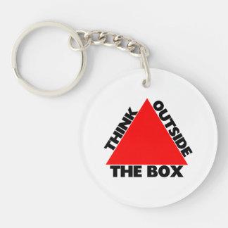 Piense fuera de la caja con el triángulo llavero redondo acrílico a doble cara