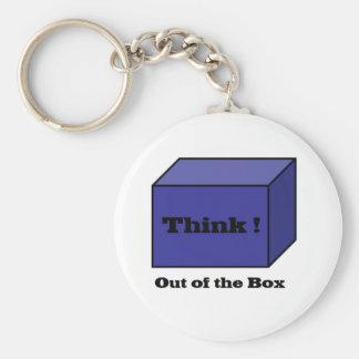Piense fuera de la caja llavero redondo tipo pin