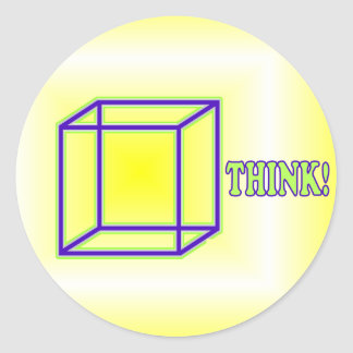 ¡Piense fuera de la caja! Pegatina Redonda