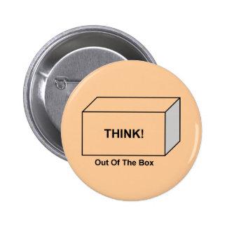 Piense fuera de la caja pin redondo de 2 pulgadas