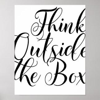 Piense fuera de la tipografía de motivación de la póster
