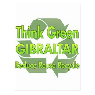 Piense Gibraltar verde Tarjeta Postal