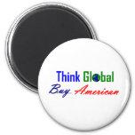 Piense global, compre al americano iman de nevera