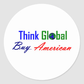 Piense global, compre al americano etiquetas