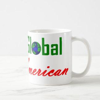 Piense global, compre al americano taza