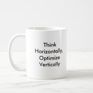 Piense horizontalmente, optimice verticalmente taza básica blanca