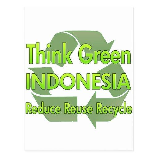 Piense Indonesia verde Tarjetas Postales