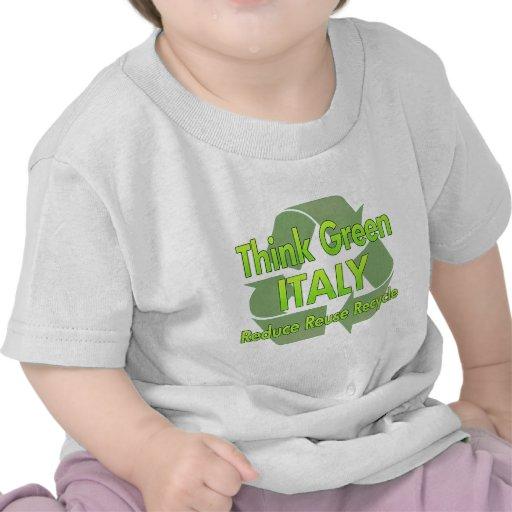 Piense Italia verde Camisetas