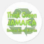 Piense Jamaica verde Etiquetas Redondas