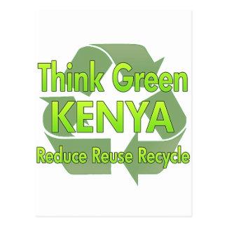 Piense Kenia verde Tarjetas Postales