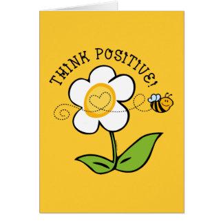 Piense la abeja positiva tarjeta pequeña