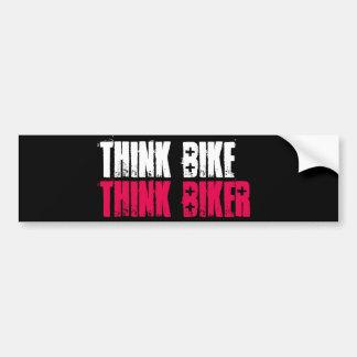 Piense la bici apilada pegatina para auto