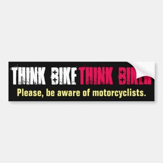Piense la bici educada pegatina para auto