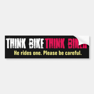 Piense la bici que él monta pegatina para auto