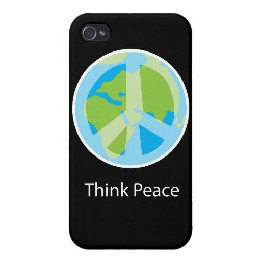 Piense la caja personalizada paz del iPhone 4 iPhone 4 Carcasa