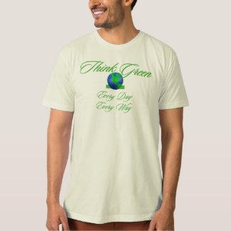 Piense la camiseta orgánica 2 verdes polera