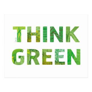 Piense la cita feliz verde postales