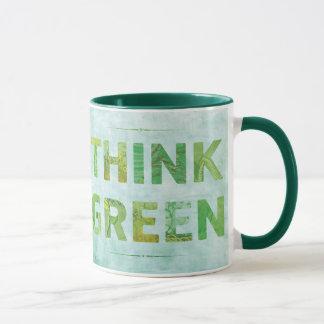 Piense la cita feliz verde - TBA Taza