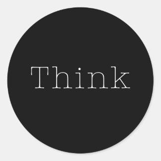 Piense la cita inspirada del pensamiento de las pegatina redonda