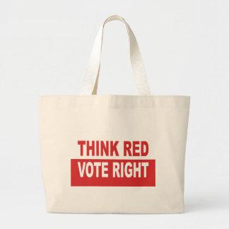Piense la derecha roja del voto bolsa tela grande