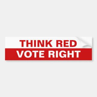 Piense la derecha roja del voto pegatina para auto