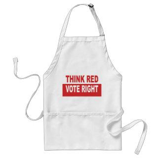Piense la derecha roja del voto delantales