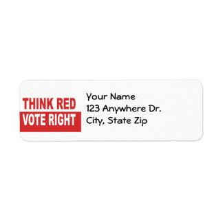 Piense la derecha roja del voto etiqueta de remite