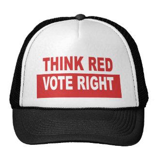 Piense la derecha roja del voto gorros bordados