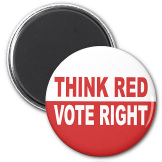 Piense la derecha roja del voto imán de frigorifico