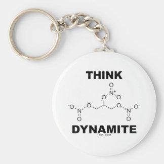 Piense la dinamita (la molécula química de la nitr llavero redondo tipo pin