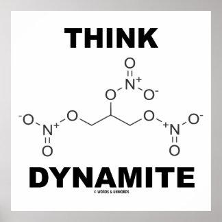 Piense la dinamita (la molécula química de la nitr posters