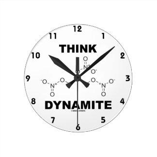 Piense la dinamita (la molécula química de la reloj redondo mediano