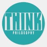 Piense la filosofía pegatinas redondas