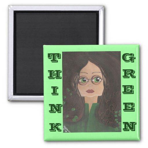 Piense la hiedra verde de Quantum Cutie Imán De Frigorífico