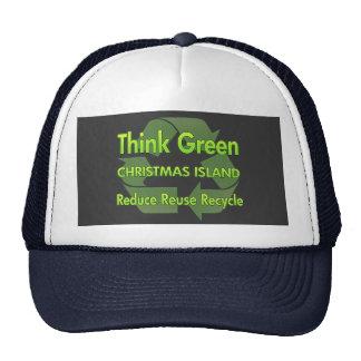 Piense la Isla de Navidad verde Gorras