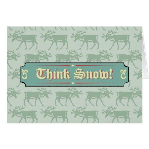 Piense la muestra del navidad de la nieve tarjetas