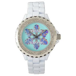 ¡PIENSE LA NIEVE! ¡Reloj blanco del diamante del Relojes De Pulsera