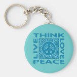 Piense la paz. Ame la paz. Vive la paz Llaveros Personalizados