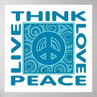 Piense la paz. Ame la paz. Vive la paz Impresiones