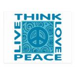 Piense la paz. Ame la paz. Vive la paz Postal